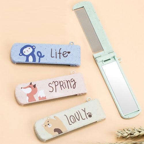 卡通動物迷你不鏽鋼攜帶梳 鏡梳二合一 美妝工具 便攜折疊梳