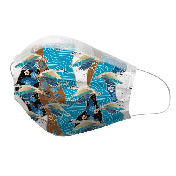 健好 防護口罩 台灣製 有鋼印 浮世繪 秋楓百鶴 現貨 平面口罩 成人口罩 50入/盒 3層過濾 熔噴布 貼心使用 (非醫療)