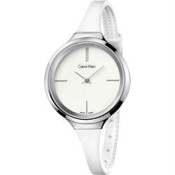 CK 活耀系列(K4U231K2)藝術典雅橡膠帶時尚腕錶/白面34mm
