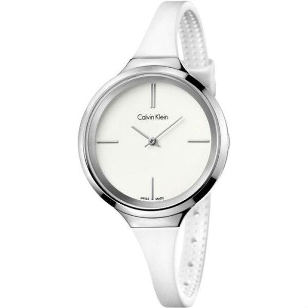 CK活耀系列(K4U231K2)藝術典雅橡膠帶時尚腕錶白面34mm