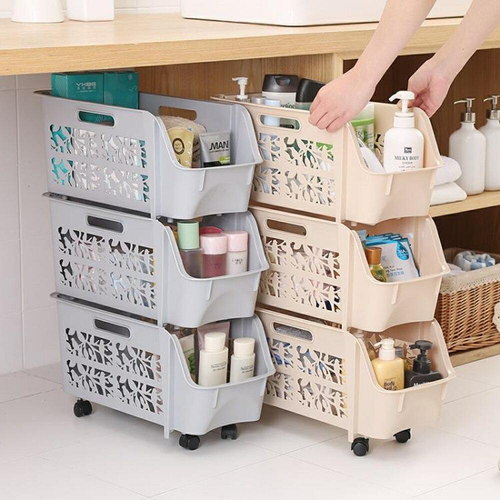 夾縫置物架塑料層架可行動冰箱縫隙浴室整理收納架廚房帶輪儲物架 LOLITA