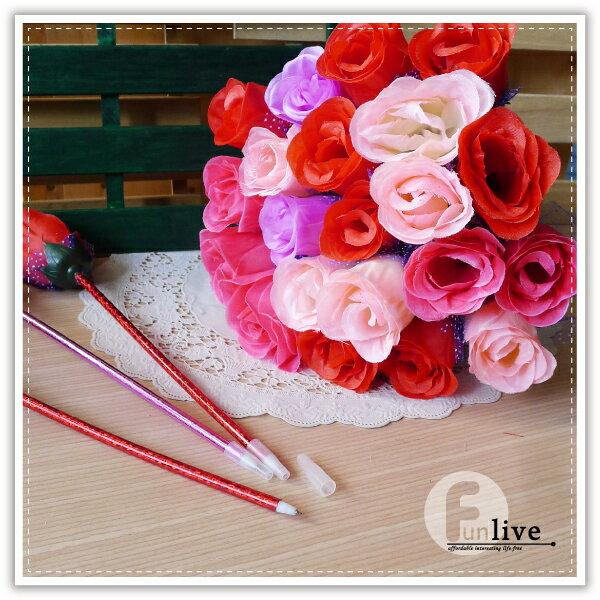 【aife life】布面玫瑰花筆-亮桿/玫瑰花造型筆/書寫文具用品/開幕活動/婚禮小物/禮贈品/簽名筆