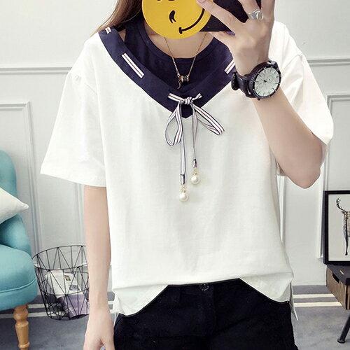 韓版v領穿繩休閒T恤(2色M~2XL)*ORead*