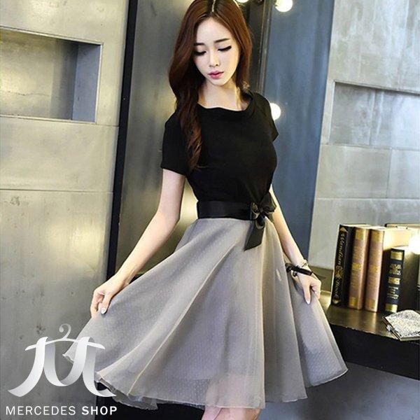 《全店75折》 韓國連線歐根紗露肩質感蝴蝶結紗裙浪漫洋裝 (S-XL) - 梅西蒂絲(現貨+預購) 0