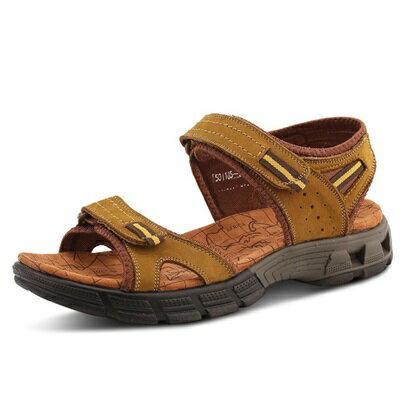 涼鞋真皮拖鞋-透氣休閒防滑耐磨男鞋子3色73sa16【獨家進口】【米蘭精品】