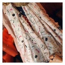 WallFree窩自在★口紅高跟鞋塗鴉超長雪紡絲巾圍巾 -大號粉色
