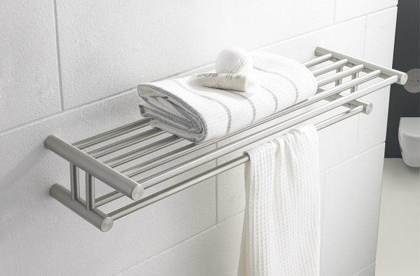 ↘ 衛浴配件下殺5折起↘雙層雙桿304不銹鋼砂光置衣架 放衣架 毛巾架 置物架 浴室小幫手 衛浴好收納 (砂光拉絲面) 上下雙層收納工具YC-2709