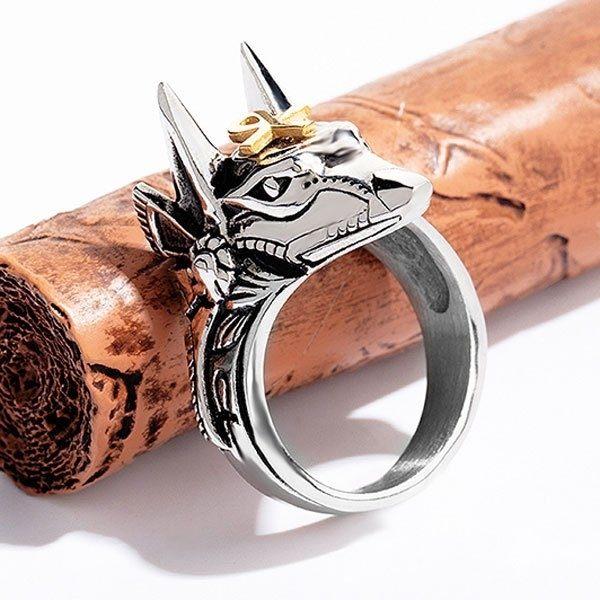 《QBOX》FASHION飾品【R100N626】精緻個性埃及阿努比斯十字架鈦鋼戒指戒環