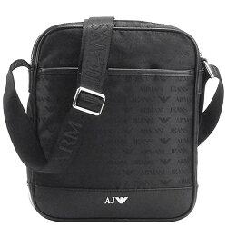 ARMANI JEANS JACQUARD 品牌AJ圖騰LOGO航空斜背包(黑)