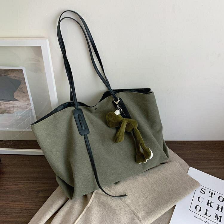 托特包 大容量包包女2020新款韓版時尚休閒帆布單肩包洋氣女包斜挎托特包