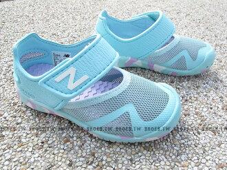 Shoestw【KA208API】NEW BALANCE 涼鞋 拖鞋 童鞋 小童鞋 水藍白 護趾 透氣 黏帶