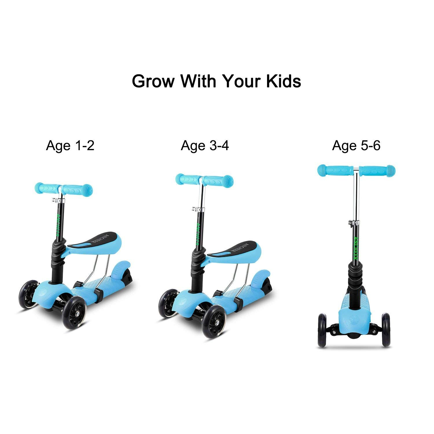 Durable 3 in 1 Mini Kick Children Scooter With Light Up Wheels Babies  Toddlers