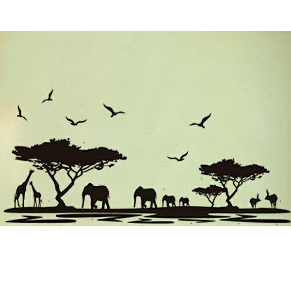 BO雜貨【YV1534-1】新款壁貼無痕創意壁貼居家裝飾牆貼磁磚貼素色黑色系非洲剪影JM7278