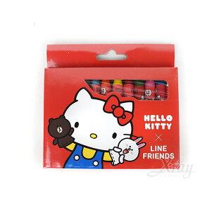X射線 精緻禮品:X射線【C665035】KITTYXLINE12色學童蠟筆,美術用品開學用品卡通繪圖用具