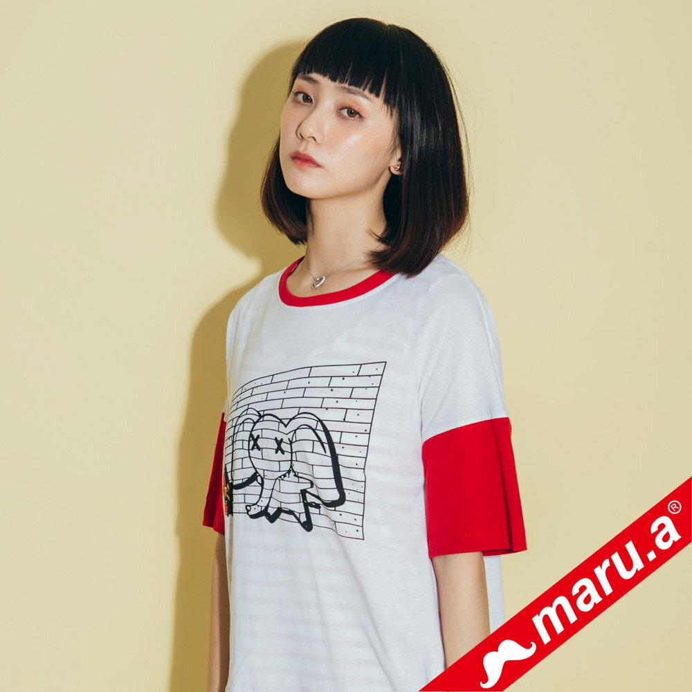 【maru.a】小飛象印花後開岔T-Shirt(2色)8311216 2