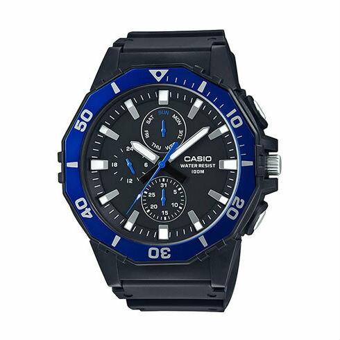 CASIOMRW-400H-1A大錶徑指針日期星期腕錶黑藍53mm