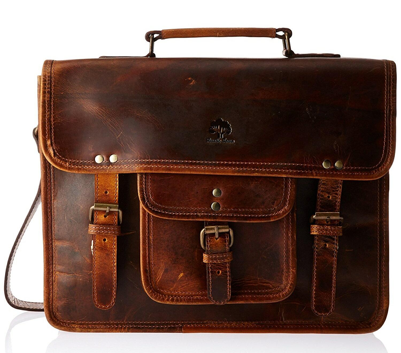 e148dc5ebd Rustic Town 15 Inch Leather Vintage Rustic Crossbody Messenger Courier Satchel  Bag Gift Men Women ~
