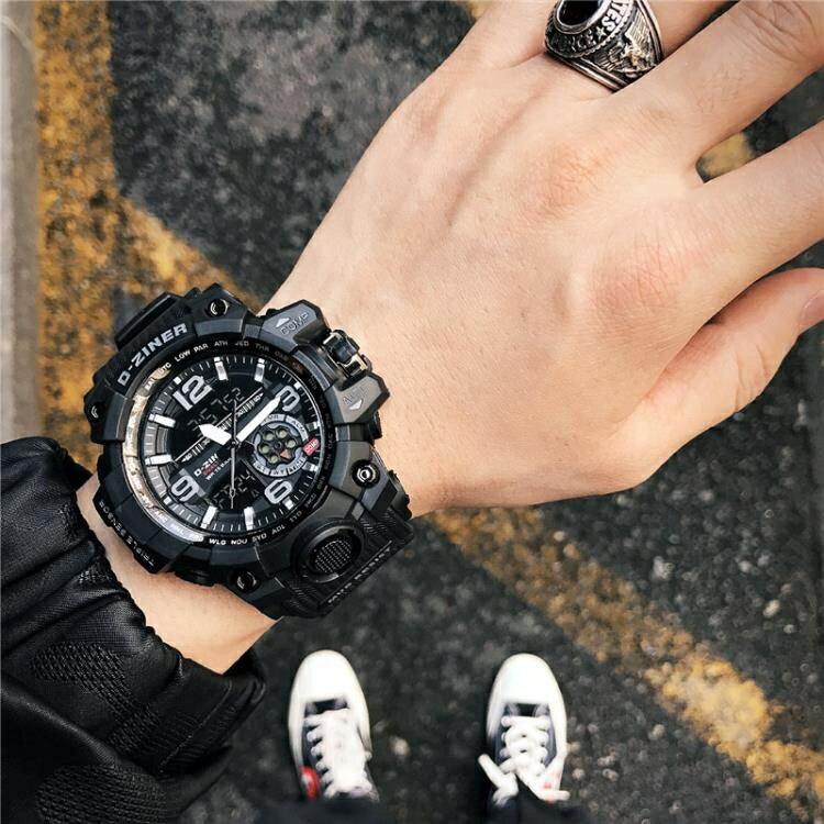 潮男防水電子表雙顯多功能跑步運動計時手錶男士軍表大表盤夜光表  初語生活  『718狂歡節』