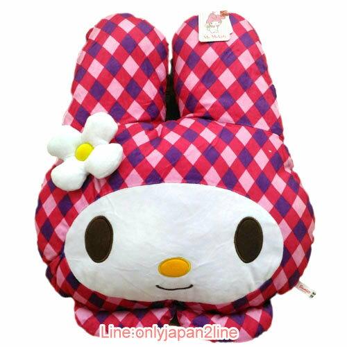 【真愛日本】17030400003頭型抱枕-45CM格紋MD桃  三麗鷗家族 Melody 美樂蒂 娃娃 玩偶