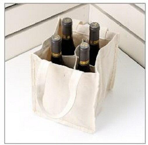 S1全球批發網:【客製化】客製本白帆布紅酒袋(4瓶裝LOGO網版印刷)環保袋S1-01082