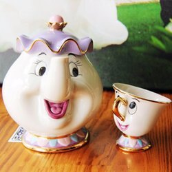 =優生活=日本代購商品 Disney迪士尼美女與野獸 Mrs. Potts和Chip 陶瓷杯子 茶壺 媽媽 茶壺+杯子一組免運優惠