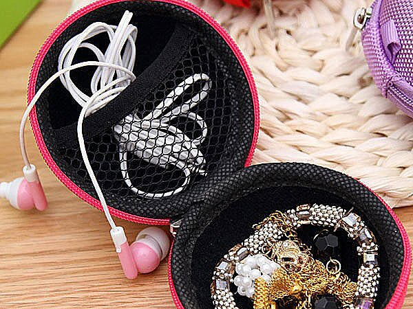 BO雜貨【SV3750】圓形球狀抗壓耳機收納盒 耳機包 球形網狀收納包 USB線收納 耳機收納