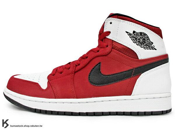 [35%OFF] 2015 最新 1985 年經典復刻款 九孔鞋洞 NIKE AIR JORDAN 1 RETRO HIGH RARE AIR 男鞋 紅白黑 皮革 鞋舌 貼布 AJ  (332550-601) !