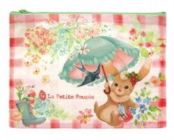 【日本製】la petite poupee 超可愛插畫風格 PVC防潑水化妝包/收納袋/筆袋【兔子】【快樂熊雜貨舖】
