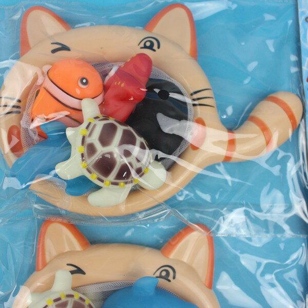 5入啾啾軟膠洗澡玩具+貓網 D637 撈魚(小丑魚海底系列)/一袋入{促180} 戲水玩具 ST安全玩具~生605-2