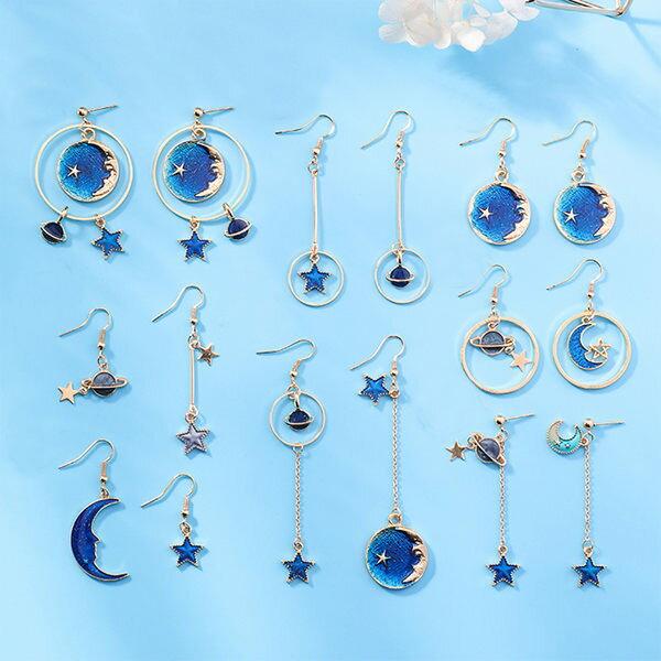 PS Mall 日系小清新藍色星星月亮耳環不對稱百搭星球幾何圓形耳勾長款耳墜【G065】 0