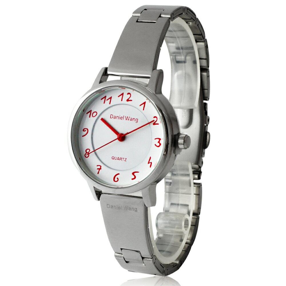 Daniel Wang 3139-S 典雅小巧錶帶銀框手寫數字質感手錶 1