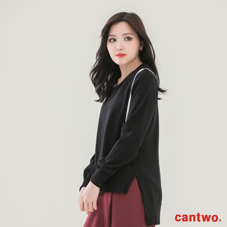 cantwo雪紡拼接假兩件針織上衣(共三色) 2