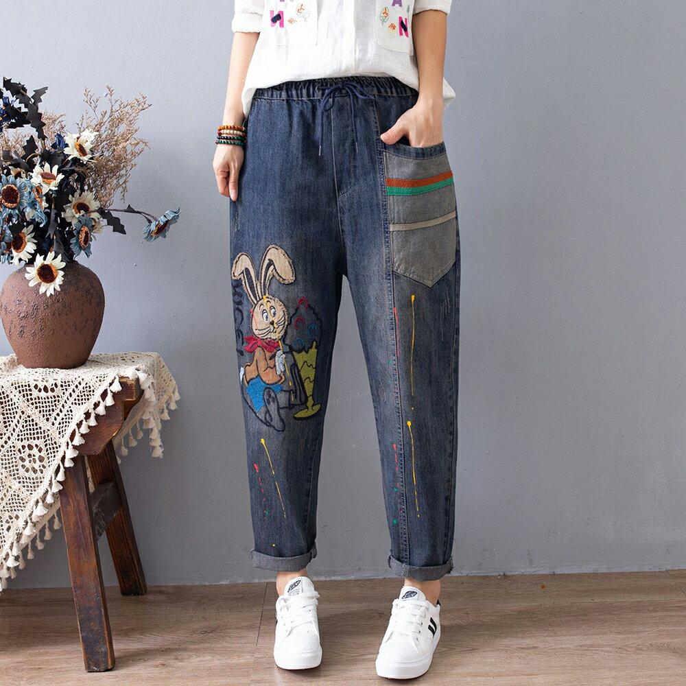 刺繡漆點做舊磨白牛仔褲(藍色M~XL)*ORead*