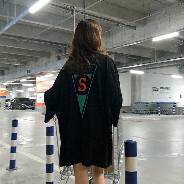 T恤素色印花寬鬆長版T圓領長袖上衣連身裙【MY8178】BOBI0705