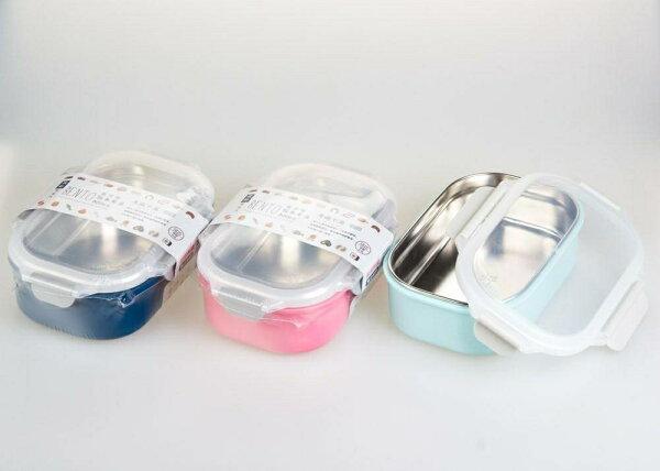 晨光進口生活用品:【晨光】台灣製藏鮮二代長方型隔熱餐盒粉深藍淺藍(502012)【現貨】