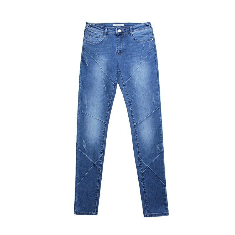 牛仔褲丹寧小腳褲-交叉縫線低腰彈力女長褲73wx15【獨家進口】【米蘭精品】 2