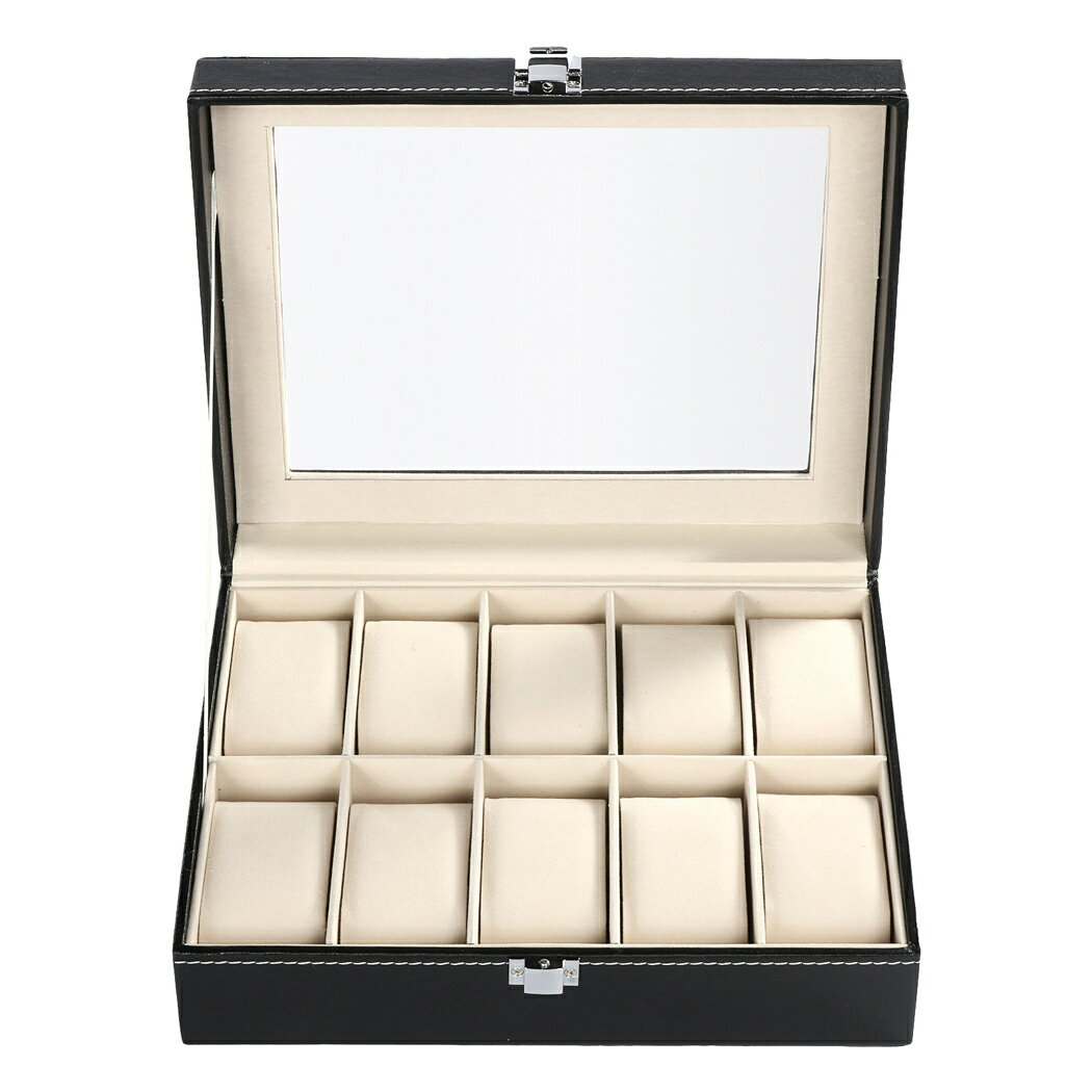 Synthetic Leather Glass Window 10 Slots Watch Storage Display Box Jewelry Case 1