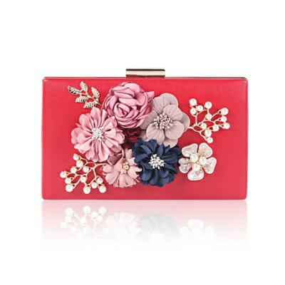 晚宴包鏈條手提包-珍珠花朵方型硬盒女手拿包5色73rk14【獨家進口】【米蘭精品】
