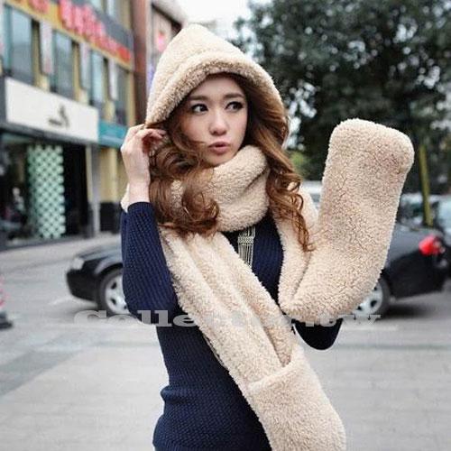 【M14121201】秋冬新款-韓版手套連帽圍巾三件套 冬天必備 百搭配件