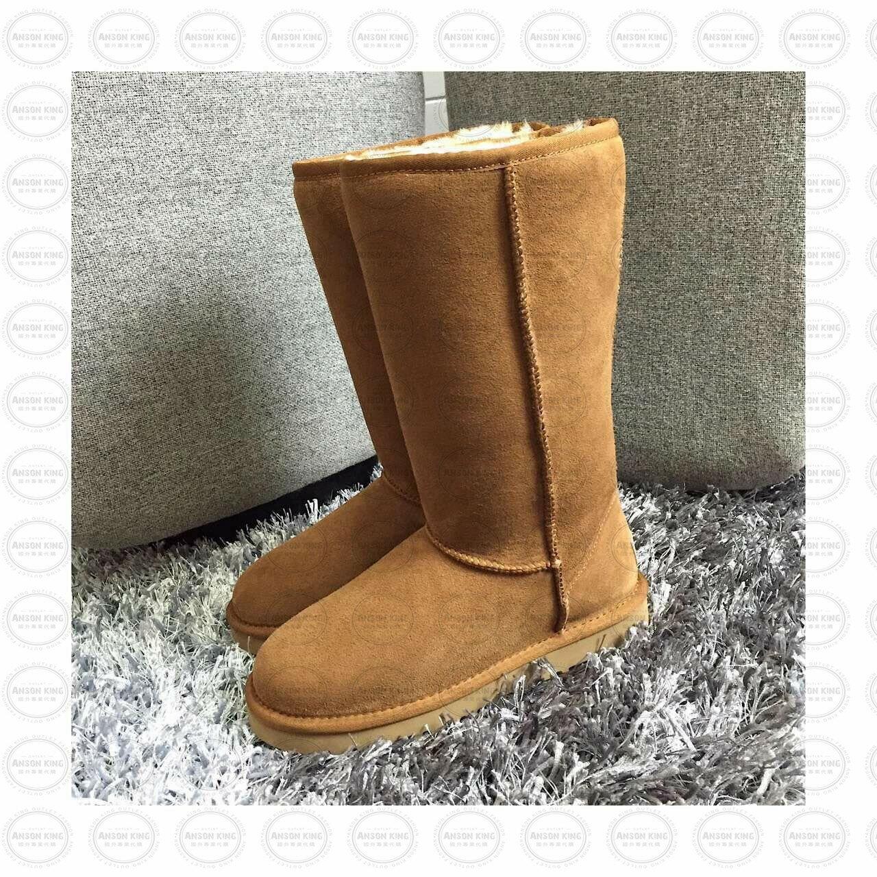 OUTLET正品代購 澳洲 UGG 經典女款羊皮毛一體雪靴 中長靴 保暖 真皮羊皮毛 雪靴 短靴 棕色 0