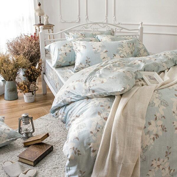 戀家小舖:床包單人-100%純天絲【月光葉影】60支天絲,含一件枕套,戀家小舖
