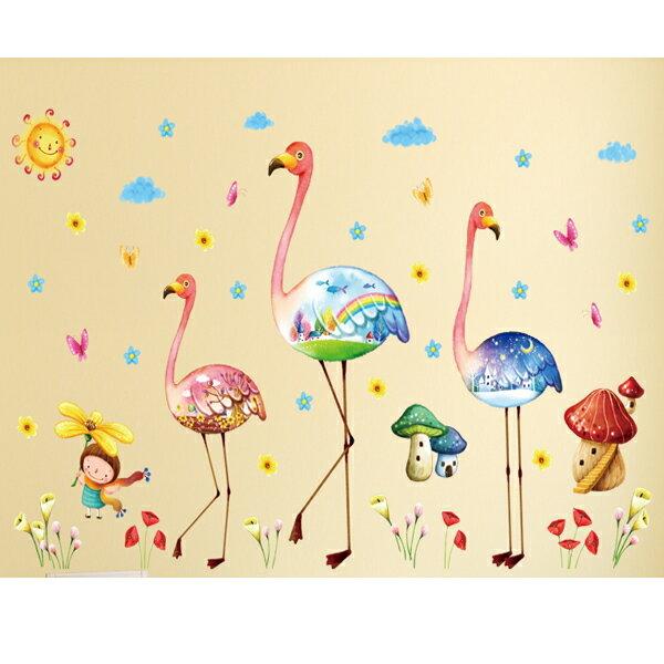 BO雜貨【YV2784-1】新款壁貼無痕創意壁貼居家裝飾室內佈置玻璃貼火烈鳥XL8219