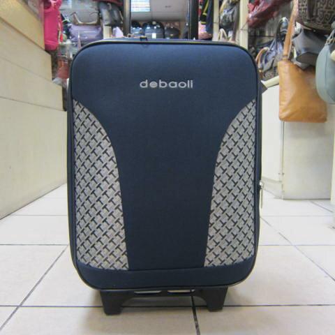 ~雪黛屋~DEBAOLI 16吋 登機行李箱可加大容量單向雙併輪附鎖設計超輕防水硬式邊殼輕巧平穩 #4074 背心藍