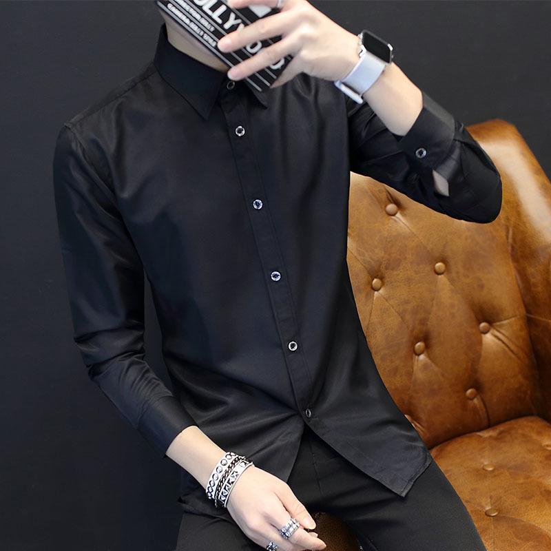 青少年長袖襯衫男士修身型黑色襯衣潮男裝休閑商務衣服寸1入