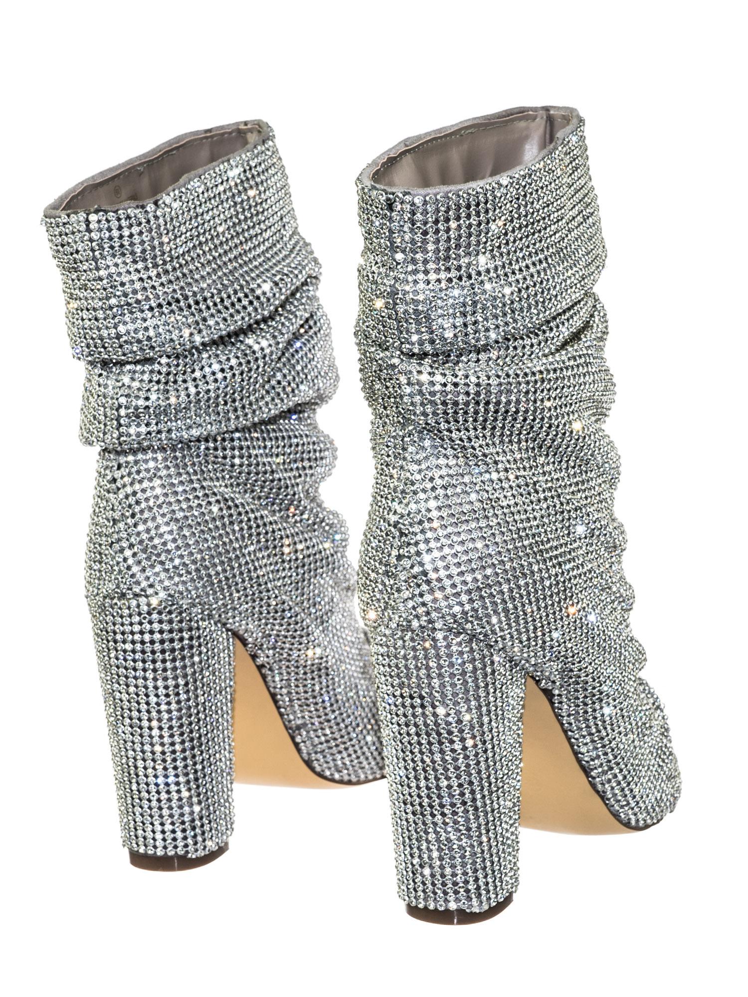 3b9ed05a087 Queen Silver by Liliana Women s Rhinestone Crystal Peep Toe Block Heel High  Ankle Slouch Bootie 2