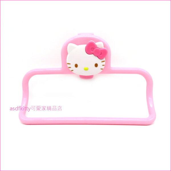 asdfkitty可愛家☆KITTY粉紅色流理台門板專用擦手巾架抹布架毛巾架-耐重700g-日本正版商品