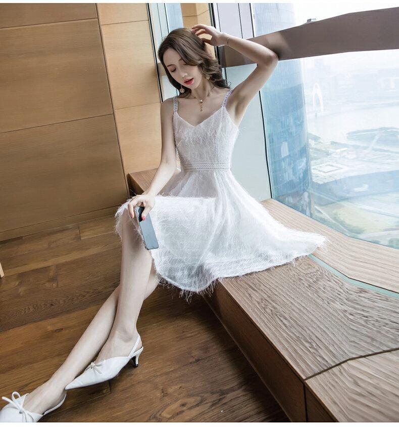 《全店75折》小香風氣質顯瘦連衣裙細肩帶洋裝(S-XL,2色)- 梅西蒂絲(現貨+預購)