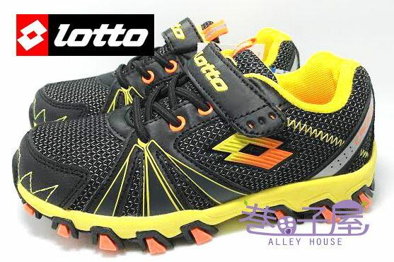 【巷子屋】義大利第一品牌-LOTTO樂得 男童五大機能超輕量越野跑鞋 防臭 [2200] 黑黃 超值價$498