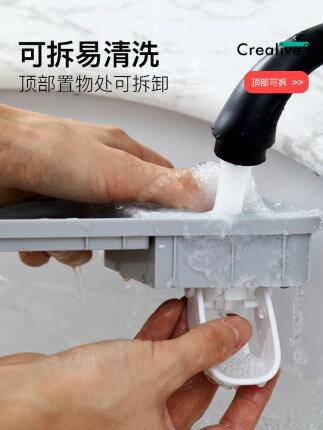 牙刷置物架刷牙杯漱口掛牆式衛生間免打孔壁掛網紅收納盒牙缸套裝『S110』