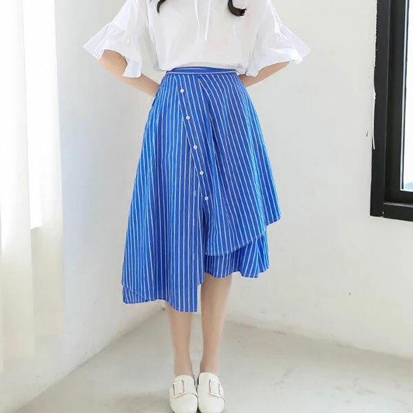 不規則 條紋 斜釦 長裙 A字裙 襯衫 長短 高腰 顯瘦長腿 百摺裙 韓 ANNA S.